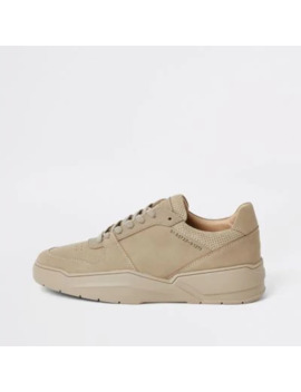 Stone Chunky Sole Lace Up Trainers by River Island