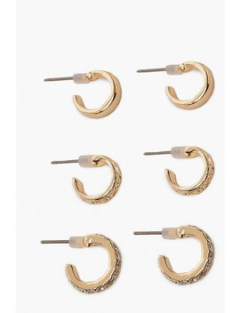 3 Pack Textured & Diamante Huggie Hoops by Boohoo