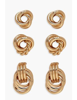 Twist Knot Stud Pack by Boohoo