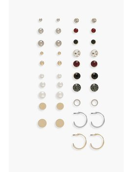 Stud And Hoop Earrings 20 Pack by Boohoo