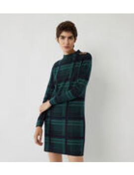 Button Shoulder Check Dress by Warehouse
