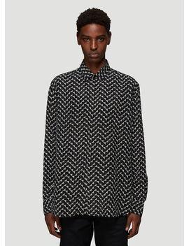 Geometric Print Silk Shirt In Black by Saint Laurent