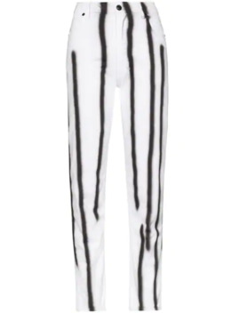 High Waisted Striped Skinny Jeans by Eckhaus Latta