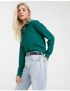 Topshop Long Sleeve Polo Top In Green by Topshop