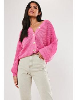 Petite Pink Knit Drop Shoulder Cropped Cardigan by Missguided