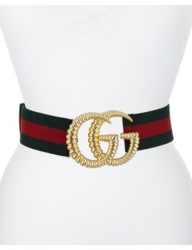 Elastic Web Belt W/ Textured Gg Buckle by Gucci