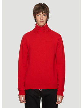 Turtle Neck Sweater In Red by Raf Simons