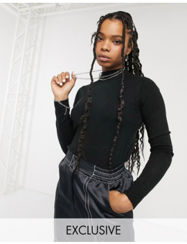 Collusion High Neck Sweater In Black by Collusion
