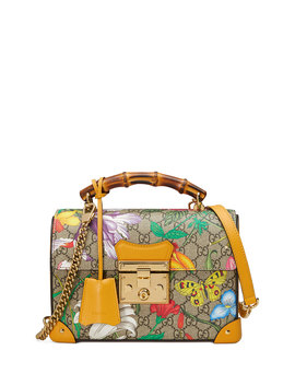 Padlock Small Flora Gg Supreme Bamboo Top Handle Shoulder Bag by Gucci