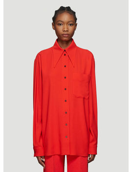 Exaggerated Collar Wool Blend Shirt In Red by Kwaidan Editions