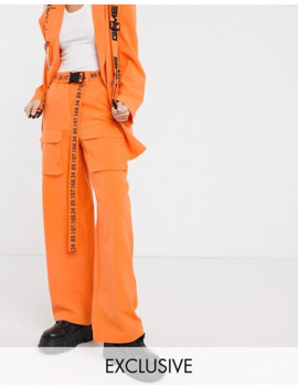 Collusion Wide Leg Cargo Pants With Typo Belt by Collusion