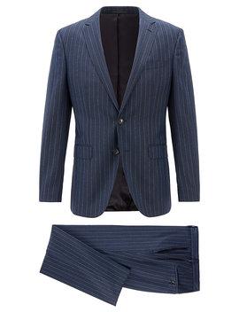 Slim Fit Two Piece Suit In Pinstripe Virgin Wool Slim Fit Two Piece Suit In Pinstripe Virgin Wool by Boss