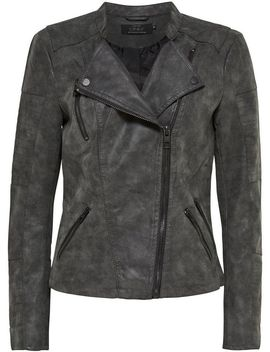 **Only Grey 'Ava' Pu Biker Jacket by Dorothy Perkins