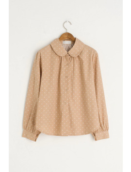 Peter Pan Collar Blot Blouse, Beige by Olive