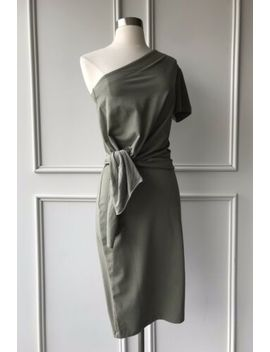 Country Road : One Shoulder Knot Jersey Bodycon Dress Khaki Size: Xs.M.L.Xl New by Country Road