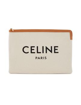 Grande Pochette En Toile Imprimé Celine Et Veau by Celine