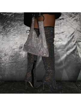 Vakili Black Suede Diamante Thigh High Stiletto Boots by Simmigirl