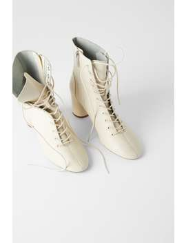 Lace Up Leather Ankle Boots by Zara