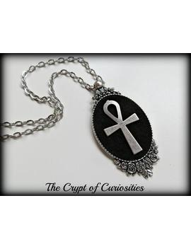 Gothic Ankh And Rose Cameo Necklace. by Etsy