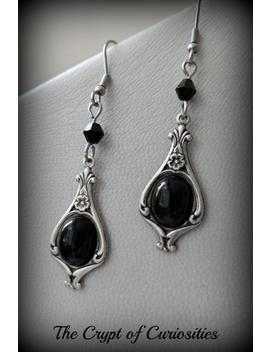 Gothic Black Onyx Sterling Silver Plated Cameo Earrings. by Etsy