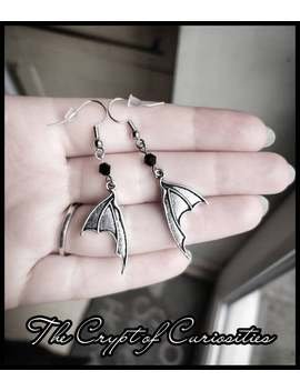 Gothic Antique Silver Bat Wing Earrings. by Etsy