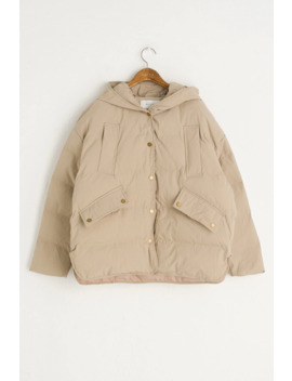 Boxy Hood Padded Jacket, Beige by Olive