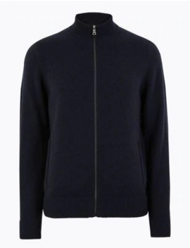 Pure Lambswool Zip Through Cardigan by Marks & Spencer