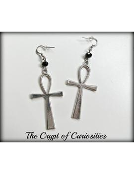 Black Glass Crystal Ankh Earrings by Etsy