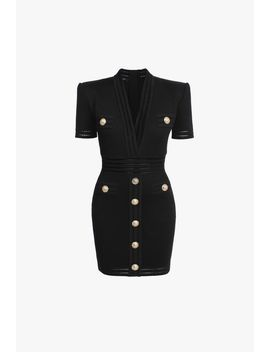 Short Black Knit Dress With Gold Tone Buttons by Balmain