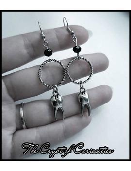 Gothic Black And Silver O Ring Tooth Earrings. by Etsy