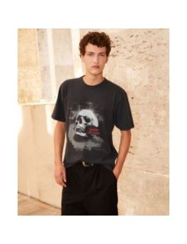 Printed Black Cotton T Shirt With Skull by The Kooples