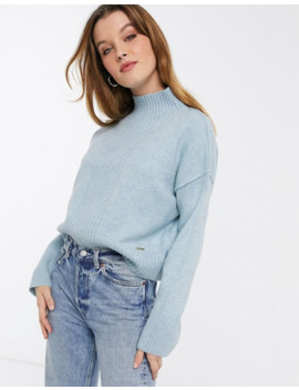 River Island Cropped Jumper In Light Blue by River Island