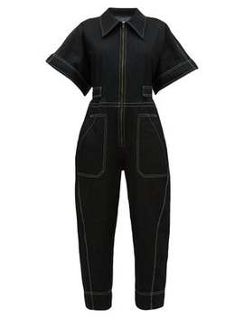 Contrast Stitch Denim Jumpsuit by Ssōne