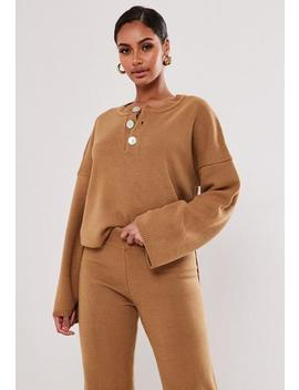Camel Co Ord Mock Pearl Button Knitted Jumper by Missguided