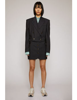 Cropped Pinstripe Jacket Navy Blue by Acne Studios