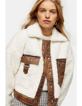 Cream Pocket Borg Jacket by Topshop