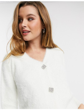 River Island Fluffy Cardigan In Cream by River Island
