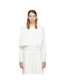 White Double Layer Long Sleeve T Shirt by Mm6 Maison Margiela