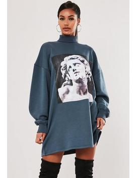Blue High Neck Statue Graphic Sweater Dress by Missguided