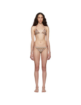 Multicolor Lurex Zig Zag Triangle Bikini by Missoni