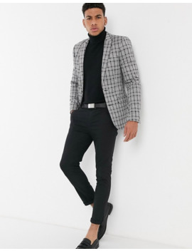 Asos Design Super Skinny Blazer In Grey Tonal Check Jersey by Asos Design