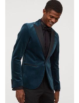 Velvet Tuxedo Jacket Slim Fit by H&M