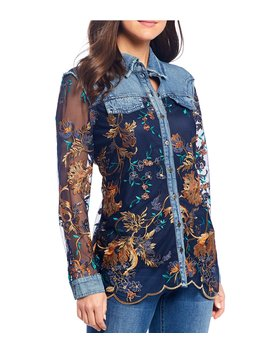 Floral Embroidered &Amp; Denim Button Front Scalloped Hem Cotton Shirt by Reba