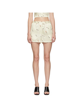 Off White Printed Tap Shorts by Alexander Wang