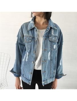 Preferred Ready Stock📣Women Korean Casual Coat Loose Long Sleeve Hole Denim Jacket by Shopee