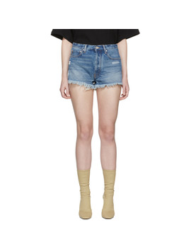 Indigo Denim Five Pocket Shorts by Off White
