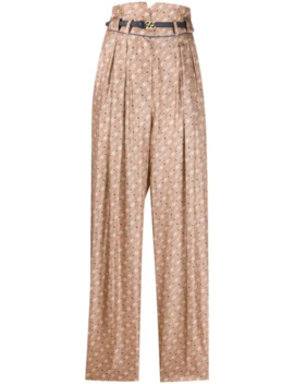 High Waisted Straight Printed Trousers by Fendi