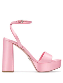 70mm Chunky Heel Sandals by Prada
