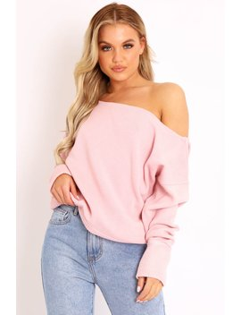 Pink Off Shoulder Knit Jumper   Brithany by Rebellious Fashion