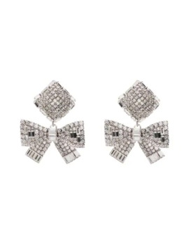 Crystal Embellished Bow Drop Earrings by Alessandra Rich